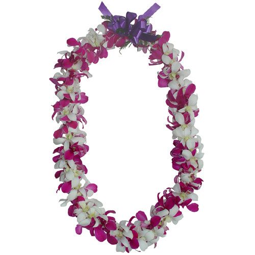 Double White and Purple Lei